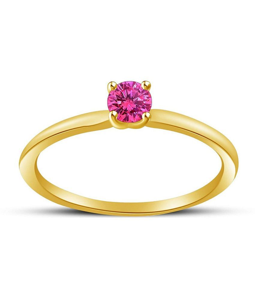 RING(ANGUTHI) 9 ratti Natural PINK SAPPHIRE  GOLD PLATED   RING(ANGUTHI) by KUNDLI GEMS