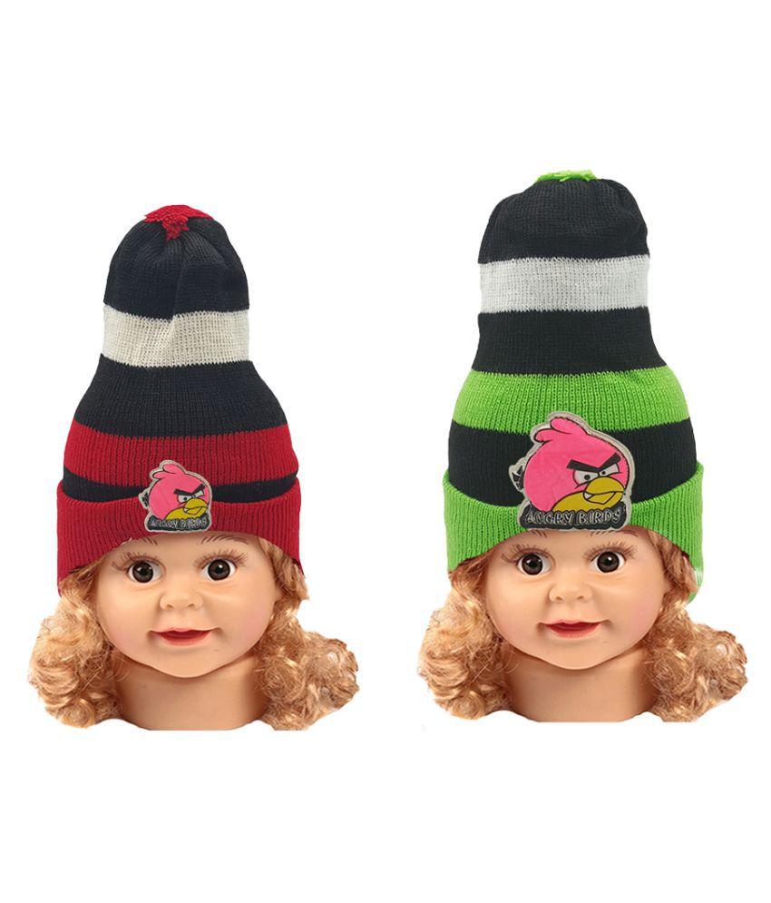 Angry Birds Design Unisex Baby Winter Warm Woolen Beanie Cap for Kids -Boy's & Girl's