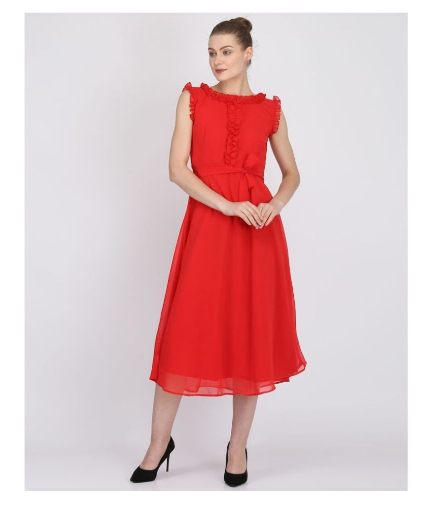 O Madam Georgette Red Fit And Flare Dress