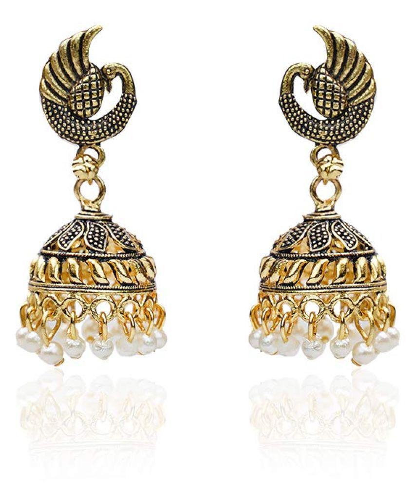 Online Om Peacock Design Jhumki with White Beads for Women/Girls (Golden)