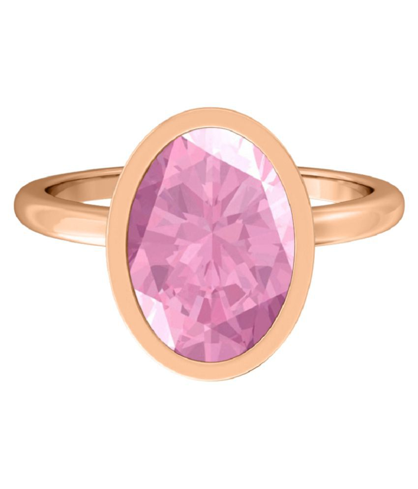 6.25 ratti natural PINK SAPPHIRE  Stone pure GOLD PLATED RING(ANGUTHI) for unisex by RATAN BAZAAR\n