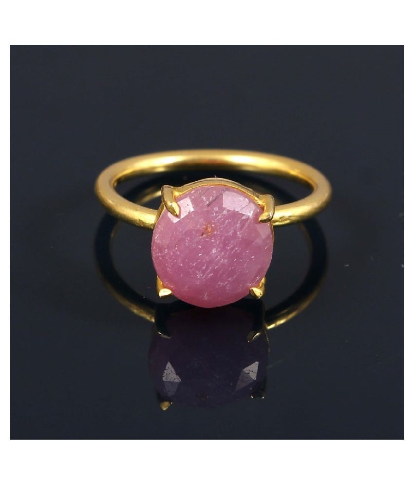 7 Ratti PINK SAPPHIRE  RING(ANGUTHI) with Natural GOLD PLATED PINK SAPPHIRE  Stone by RATAN BAZAAR