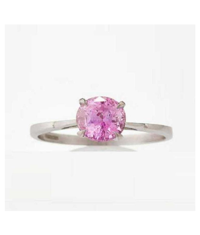 8 ratti Natural Lab certified Stone silver PINK SAPPHIRE  RING(ANGUTHI) by RATAN BAZAAR\n