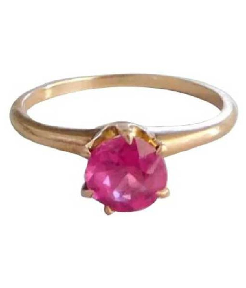 9 ratti stone pure PINK SAPPHIRE  GOLD PLATED RING(ANGUTHI) for unisex by RATAN BAZAAR\n