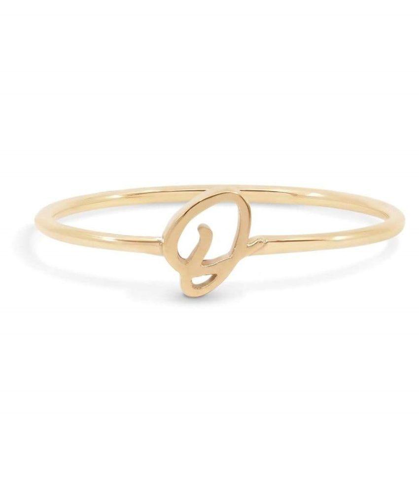 Gold Plated Alphabet Letters Ring For Men & Women by Kundli Gems