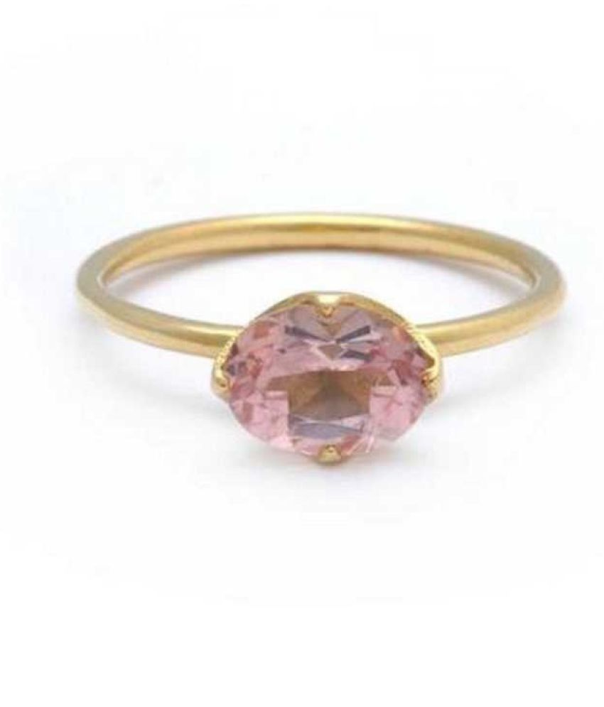 Natural PINK SAPPHIRE Stone 9 Ratti Gemstone gold plated RING(ANGUTHI) Original Lab Certified by RATAN BAZAAR