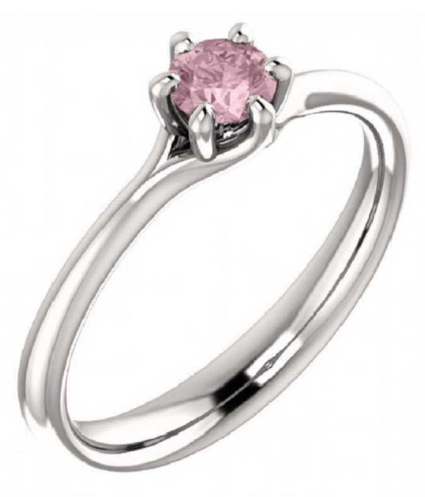 Sterling Silver PINK SAPPHIRE RING(ANGUTHI) 7.5 ratti RING(ANGUTHI) by RATAN BAZAAR