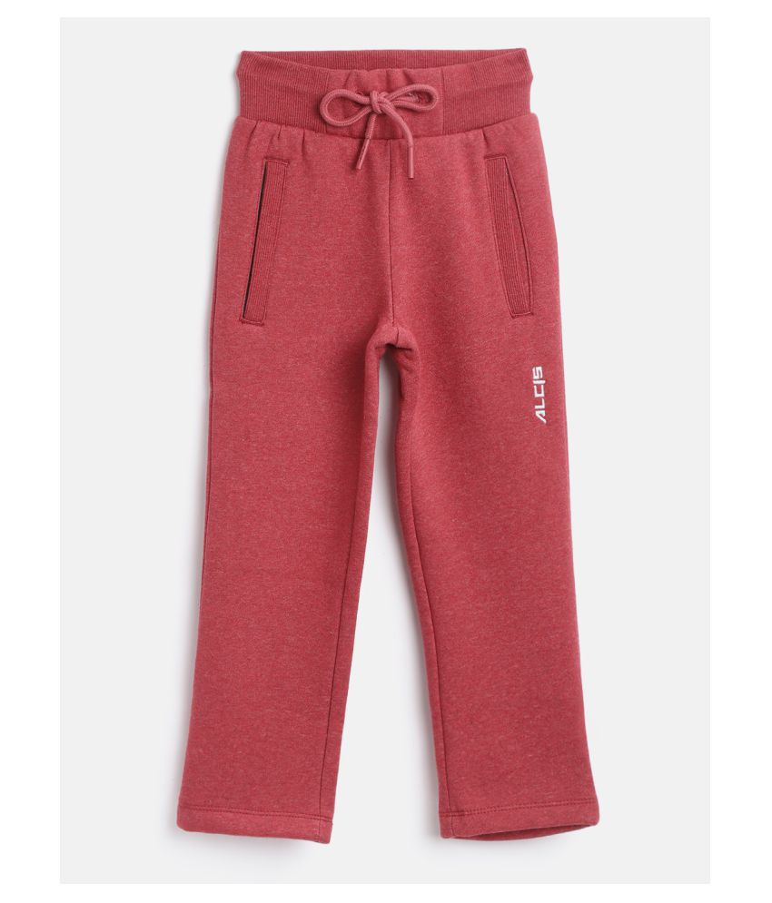 Alcis Girls Red Solid Knitted Track Pants