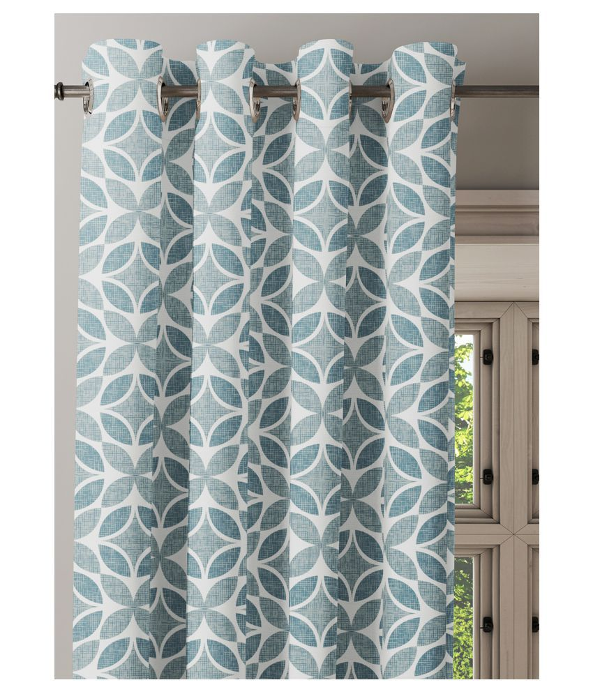 Ixora Decor Set of 2 Window Semi-Transparent Eyelet Cotton Curtains Blue