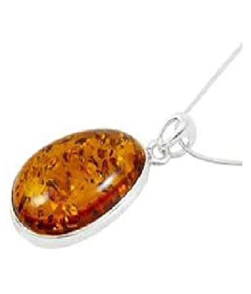 6.5 ratti Stone 100% Natural Amber Silver Pendant by  Kundli Gems\n