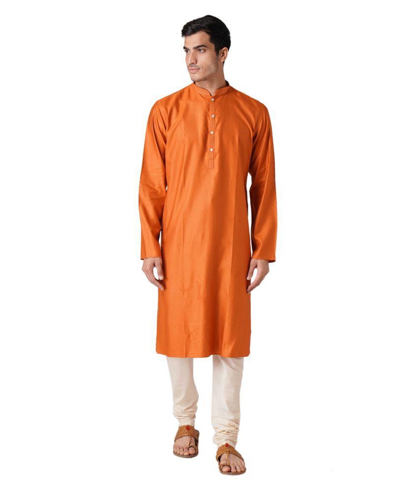 ZOIS Orange Cotton Kurta Pyjama Set