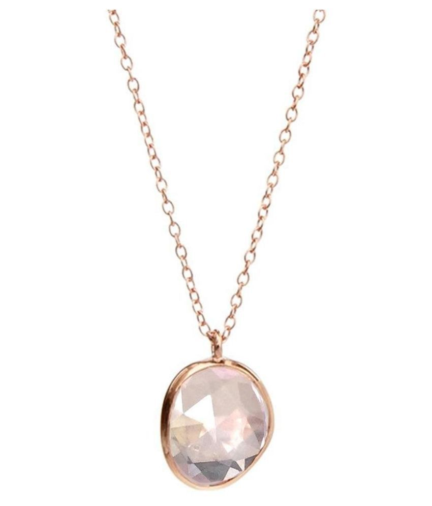 5.5 ratti Natural Rose quartz Stone Unheated Lab Certified Gold Plated Pendant by Ratan Bazaar \n