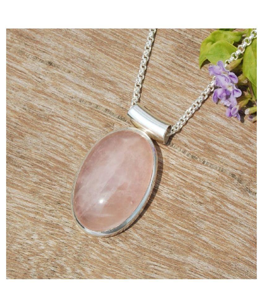 6.5 ratti Natural Rose quartz Stone Unheated Lab Certified pure Silver Pendant by Ratan Bazaar \n