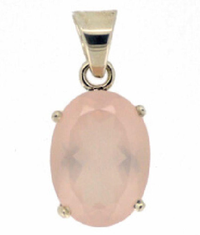 8 Carat Stone Rose quartz Gold Plated Pendant for unisex by Kundli Gems\n