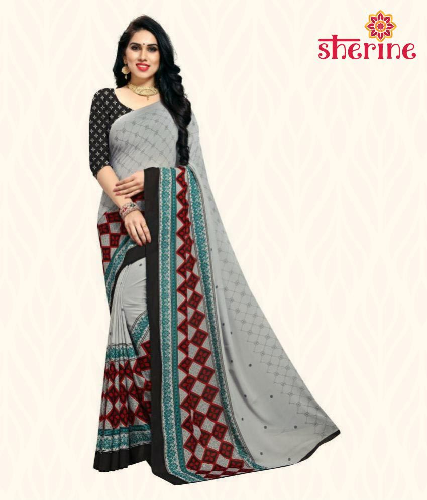 Sherine Black Geometric Print Saree (Fabric- Poly Georgette)