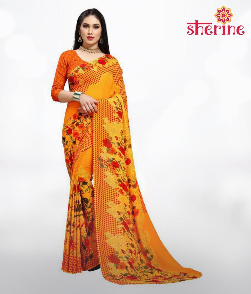 Sherine Yellow Foral Print Saree (Fabric- Poly Georgette)