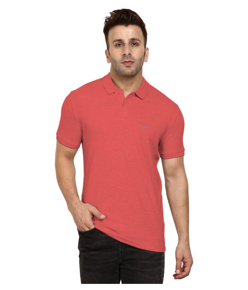 BENTLON Cotton Blend Peach Plain Polo T Shirt