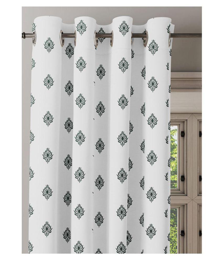 Ixora Decor Single Door Semi-Transparent Eyelet Cotton Curtains White