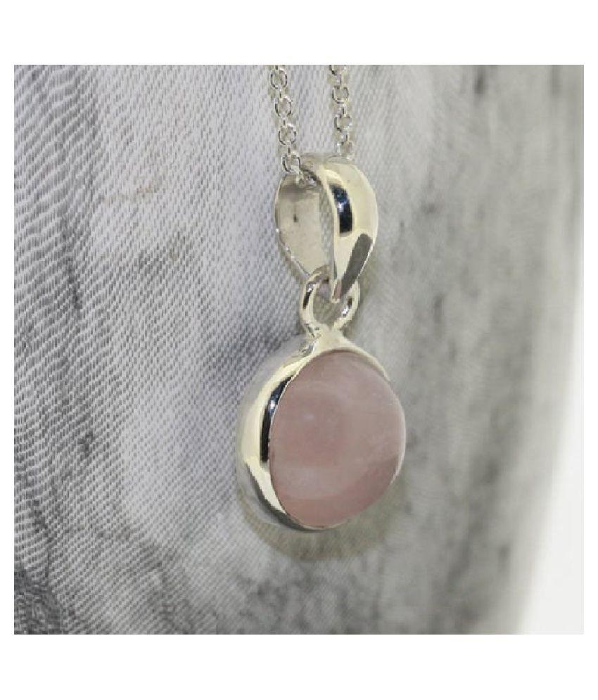 Rose quartz Pendant 6.25 Ratti 100% Original Silver Rose quartz Stone by  Ratan Bazaar
