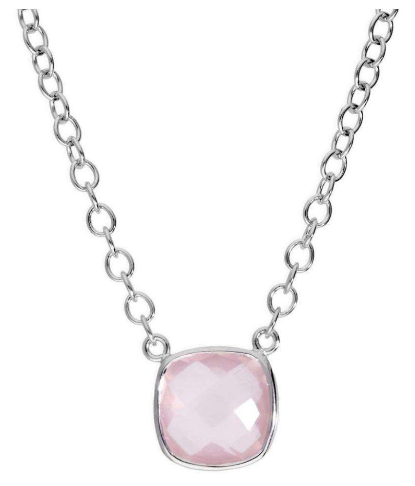 Rose quartz original & lab certified 6.5 ratti silver Pendant for astrological purpose by Ratan Bazaar \n