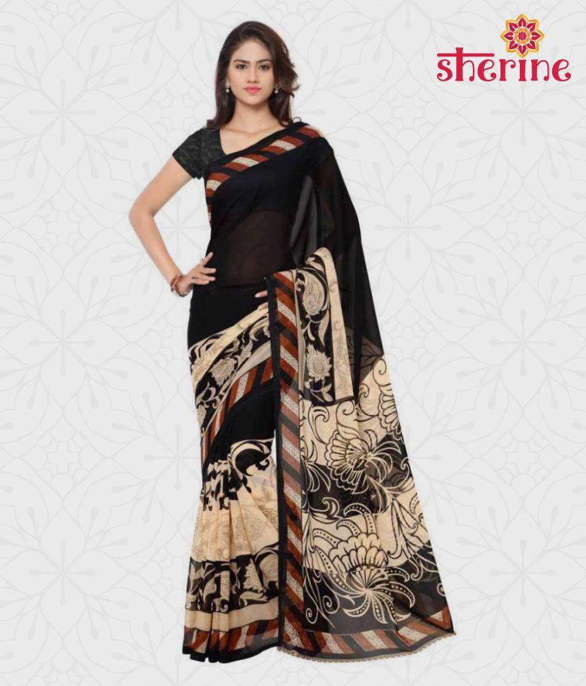 Sherine Black Printed Saree (Fabric- Poly Georgette)