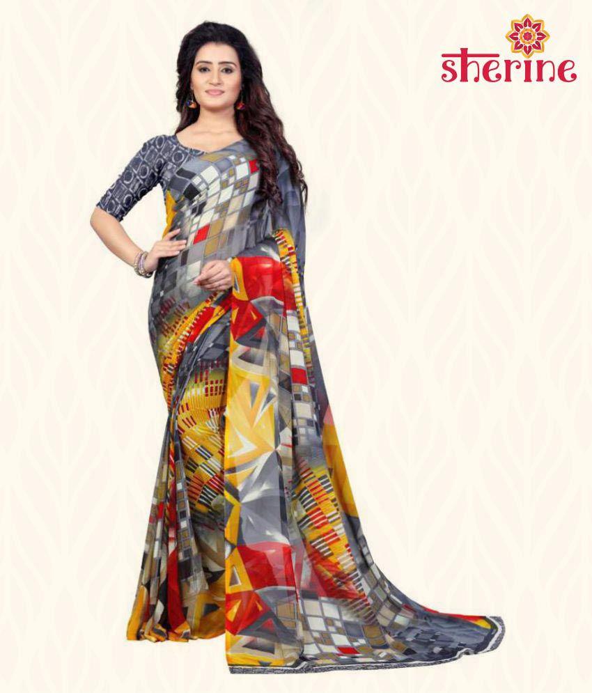 Sherine Grey Printed Saree (Fabric- Poly Georgette)