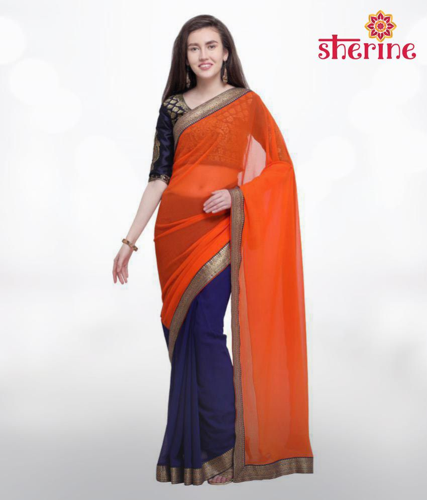 Sherine Orange Blue Plain with Border Saree(Fabric- Poly Chiffon)