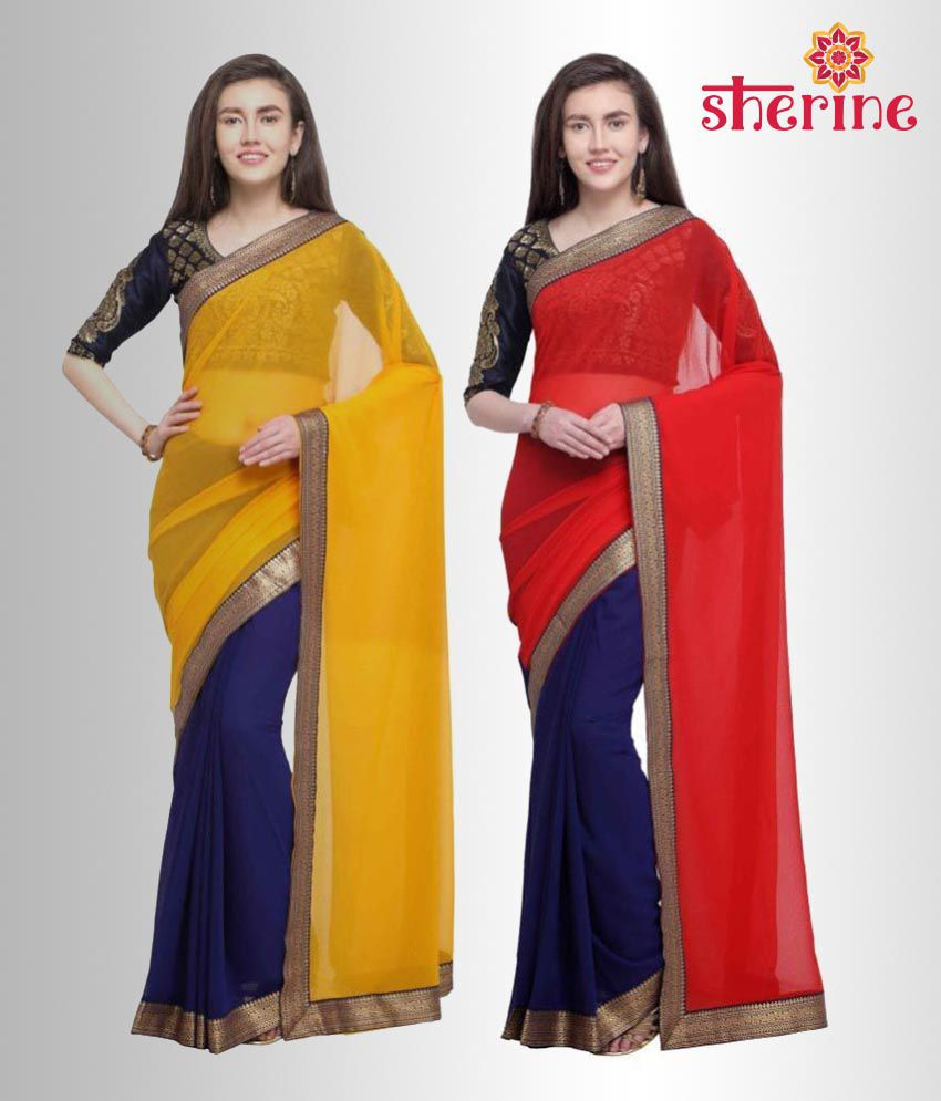 Sherine Red,Yellow Plain with Border Saree Combo (Fabric- Poly Chiffon)