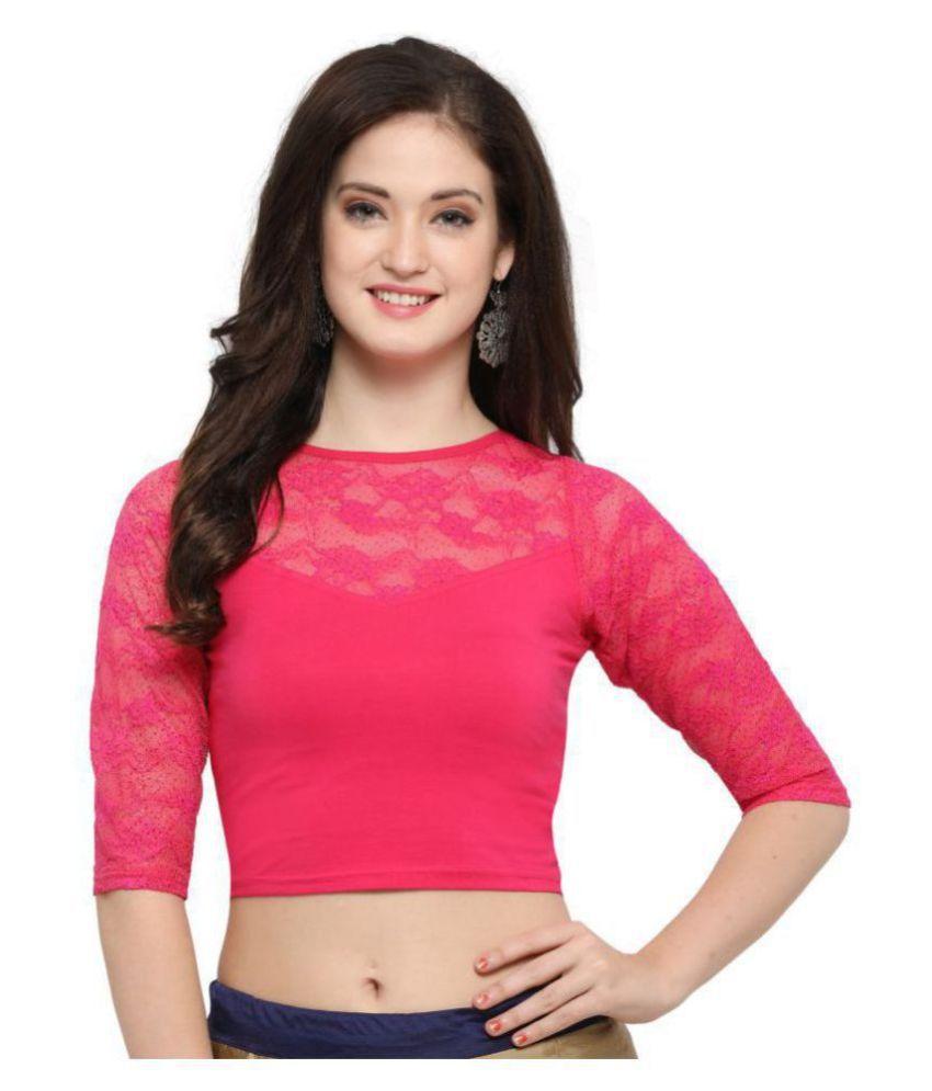 Janasya Pink Lycra Readymade without Pad Blouse
