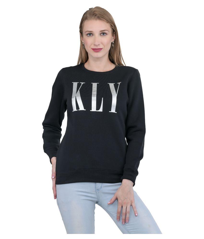 Kaily Cotton - Fleece Black Non Hooded Sweatshirt