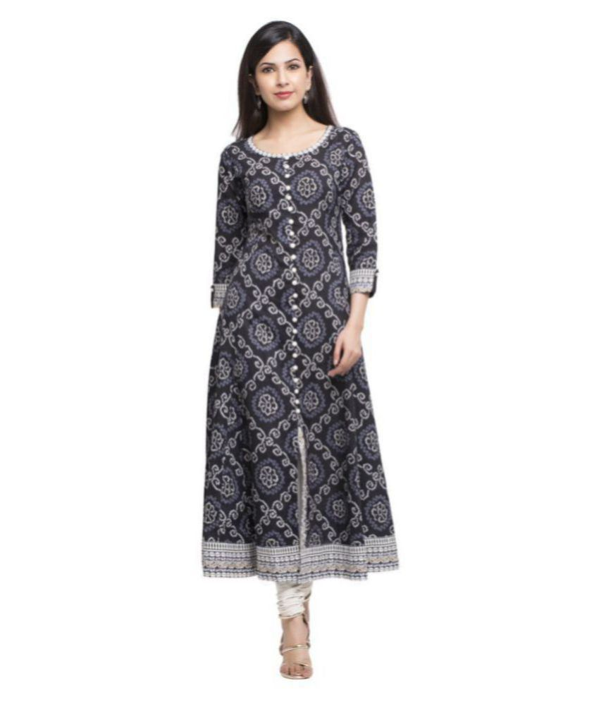 Yash Gallery Black Cotton Anarkali Kurti