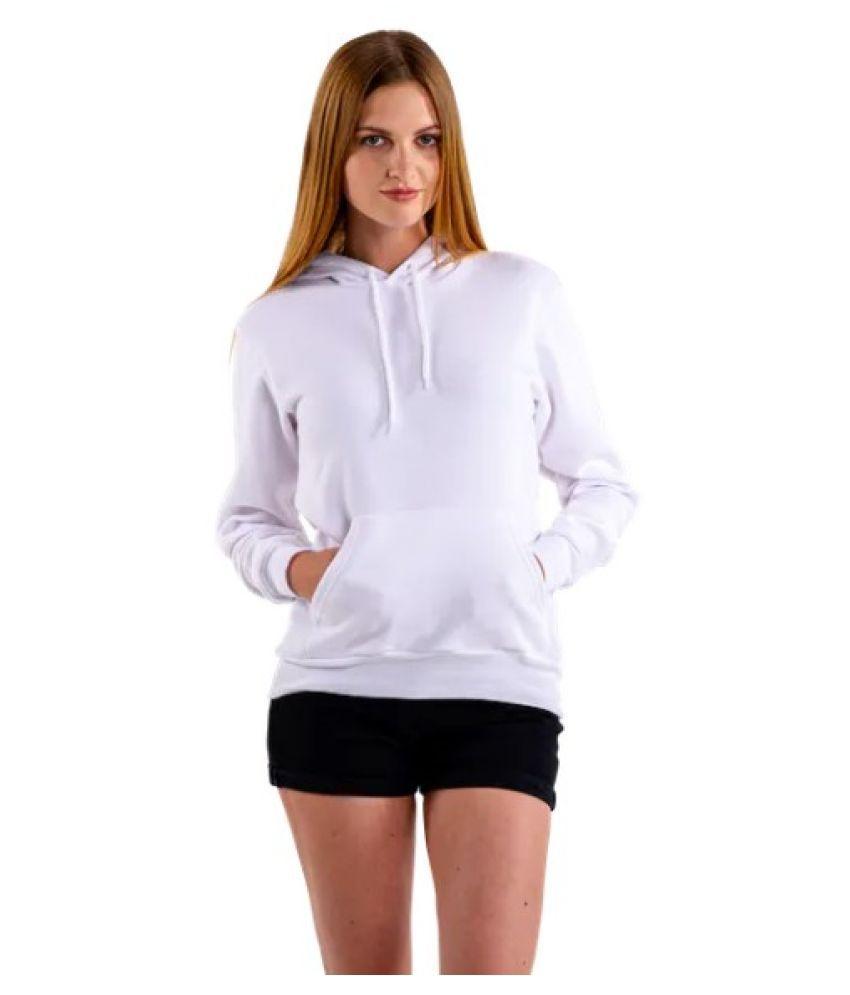 dehnovo Cotton Fleece White Hooded Sweatshirt