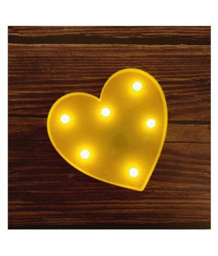 Buy Yutiriti Beautiful 3d Heart Shaped Led Light Up Marquee Sign Romantic Night Table Wall Indoor Outdoor Decoration 12 X 12 X 2 5 Cm Yellow Online At Low Price In India Snapdeal