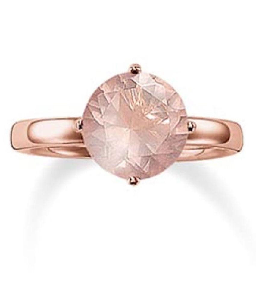 5.5 ratti Stone 100% Natural Rose quartz Gold Plated Ring by Ratan Bazaar \n