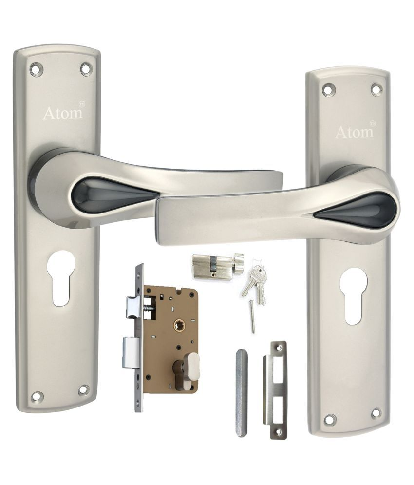Atom Mortise Door Lock O-38 C.Y. 8 inch mortice Handle Pair in Satin Finish, with 60 mm Brass Dead Bolt Cylindrical Lock Body with Five pin Brass Cylindrical one Side Key with 3 Keys.
