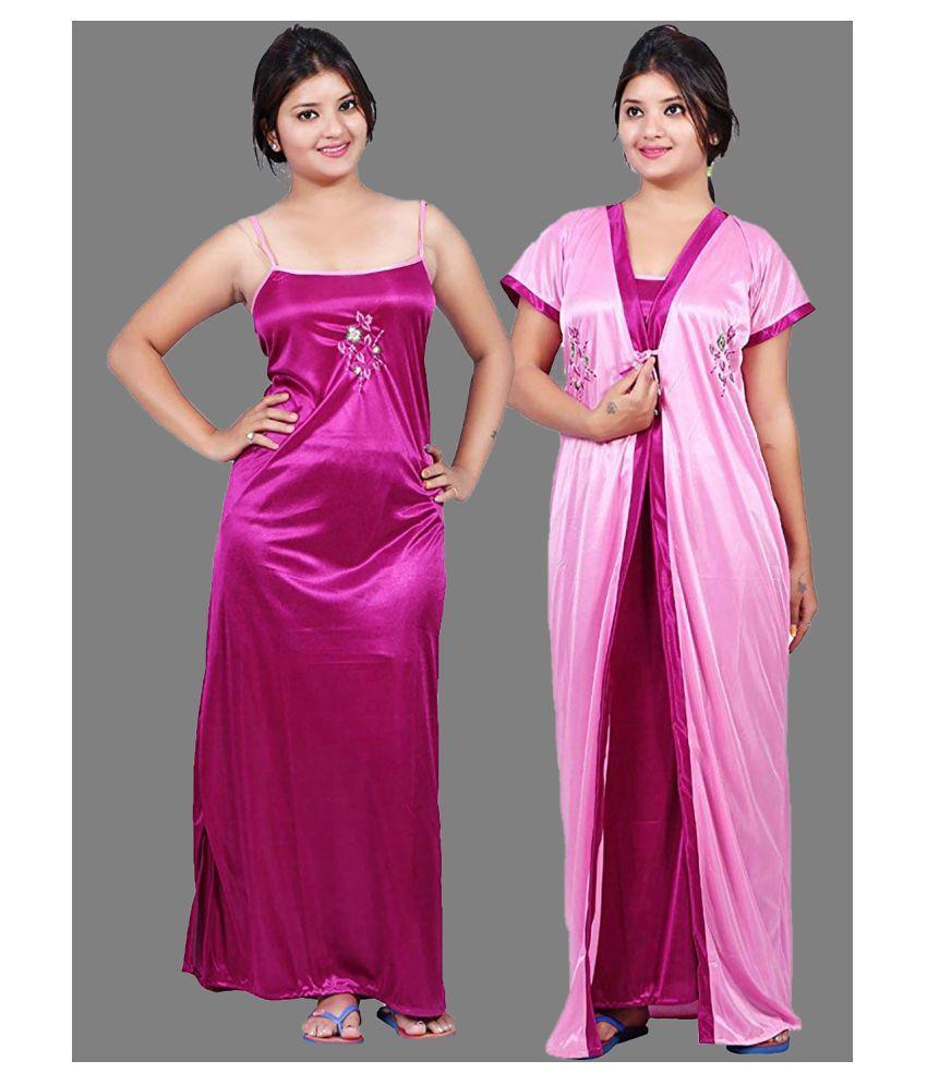 Gospel Satin Nighty & Night Gowns - Pink