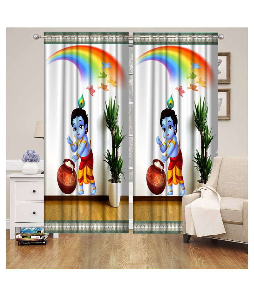 Koli collections Set of 2 Door Semi-Transparent Eyelet Polyester Curtains Multi Color