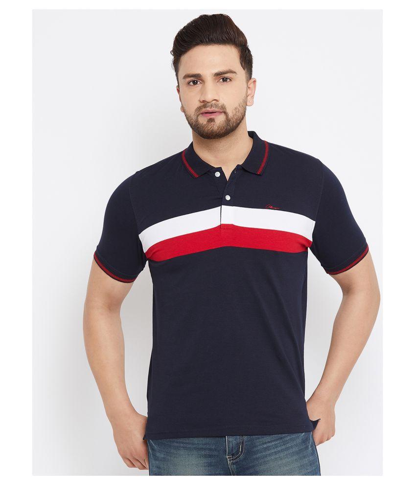 Otman Cotton Lycra Red Stripers Polo T Shirt