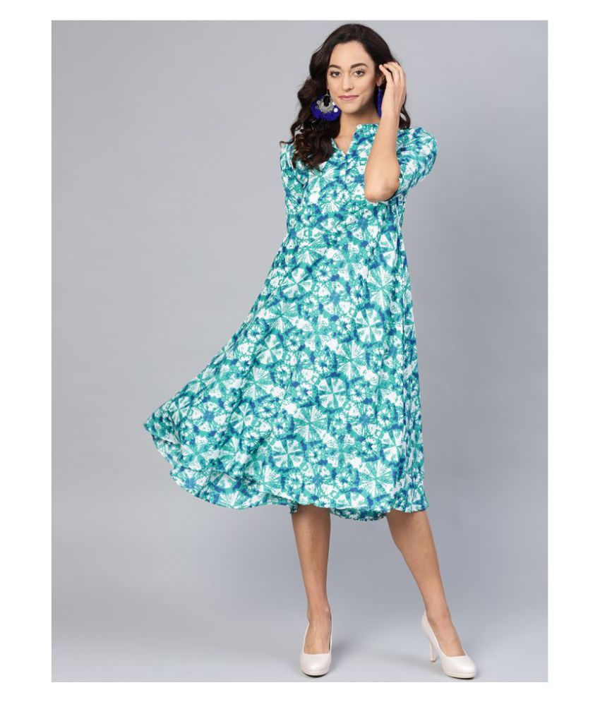 myshka Crepe Blue Regular Dress