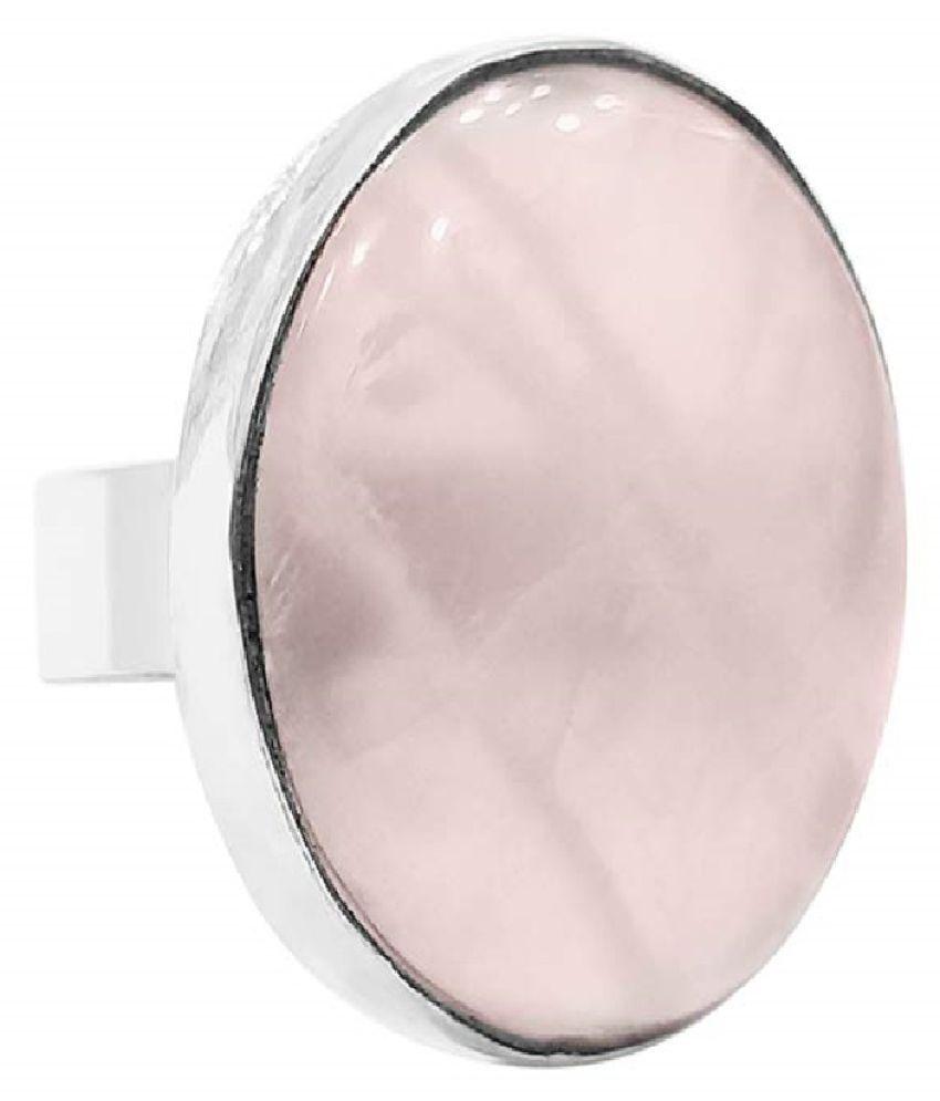 7.5 Ratti Rose quartz Ring with Natural Silver Rose quartz Stone by Ratan Bazaar