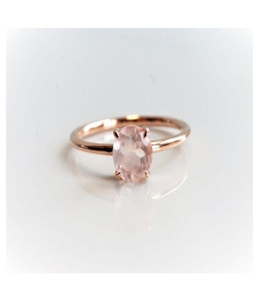 Gold Plated Rose quartz Stone Ring 9.5 carat by  Ratan Bazaar