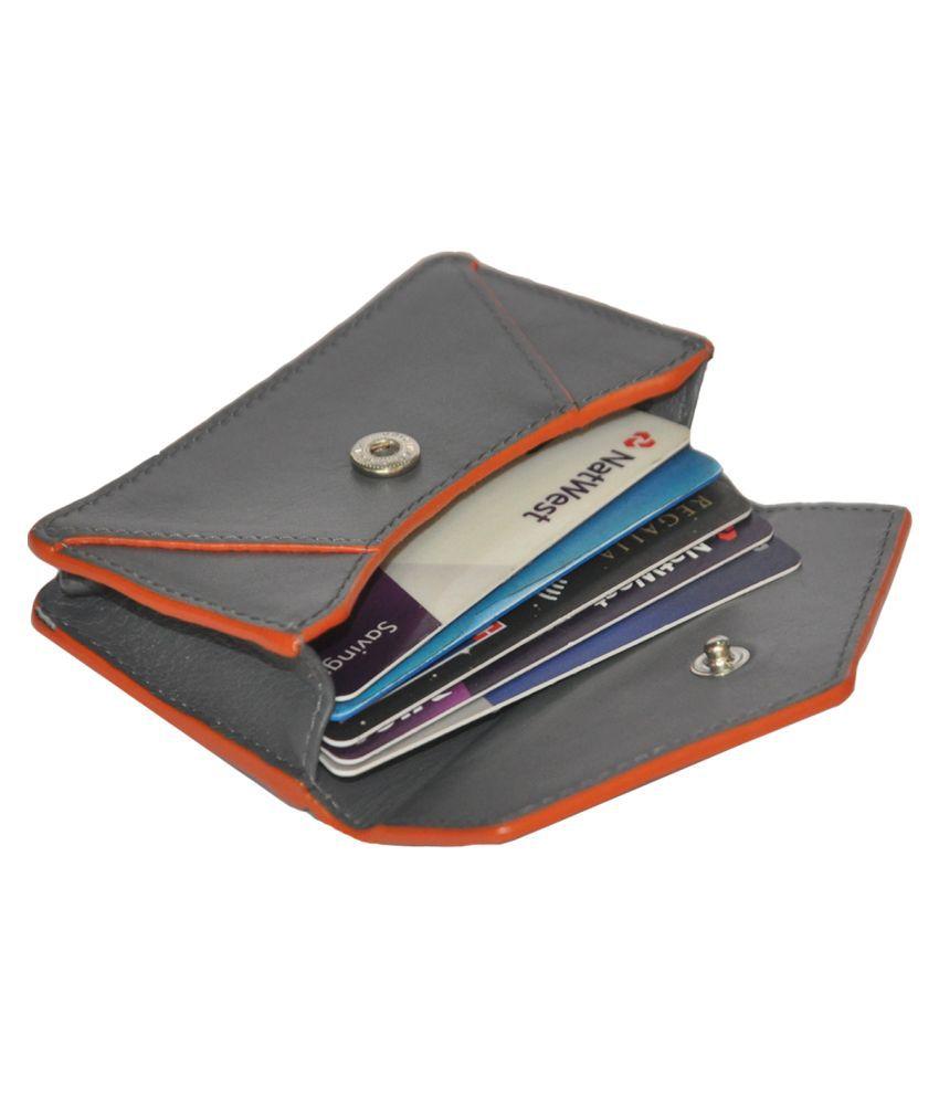 RFID Protected Genuine Grey Mini Leather Credit Card Holder