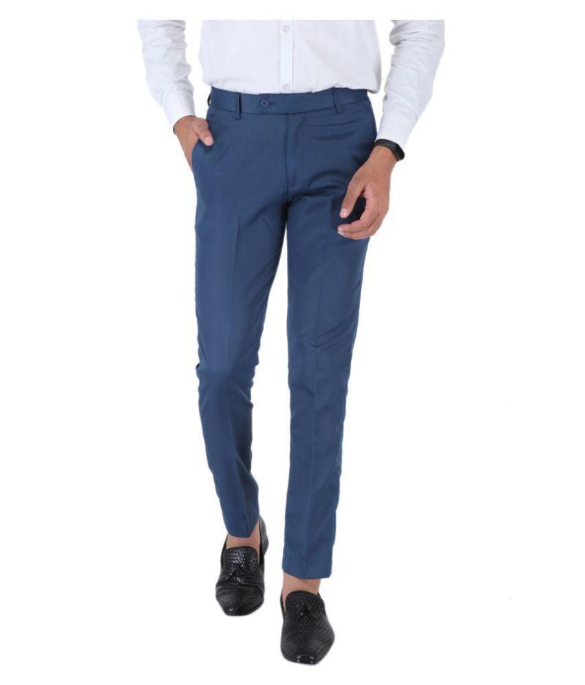 SREY Dark Blue Slim -Fit Flat Trousers
