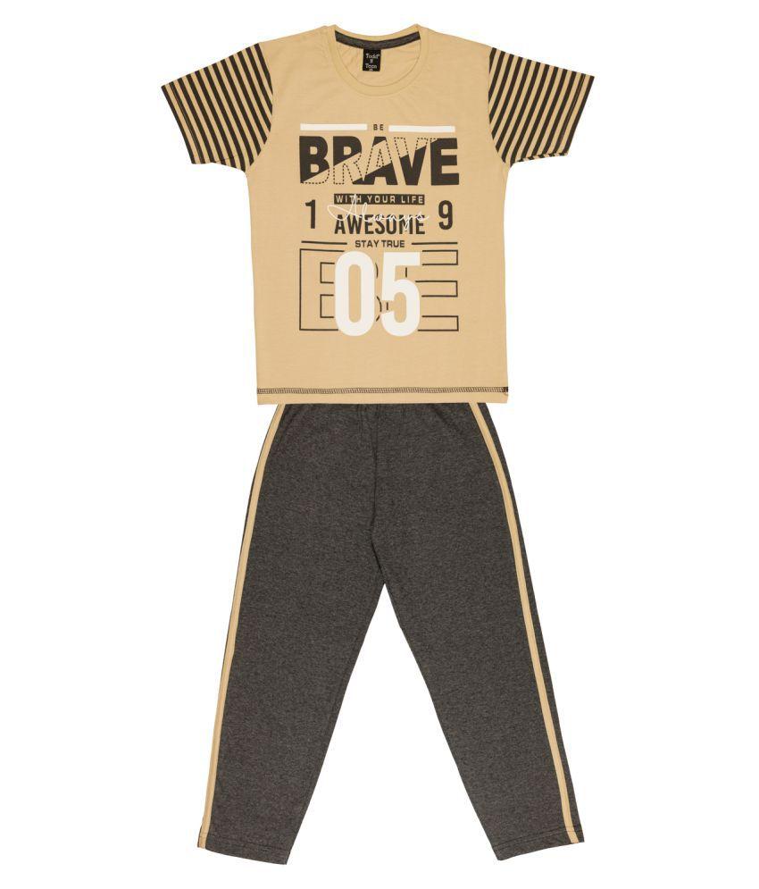 Todd N Teen Boys Cotton Casualwear, Nightwear, Loungewear With Full Pant 6 years (beige) sk15634beige06