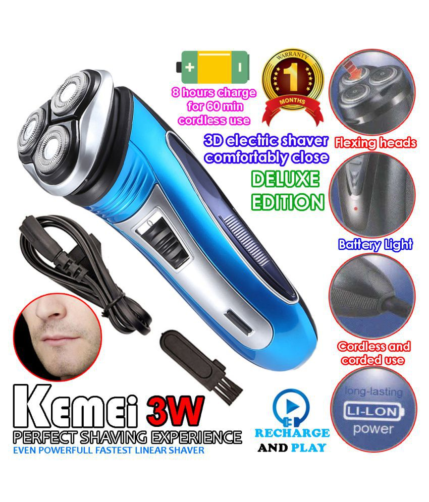 Kemei Rechargeable 2in1 Men Hair Clipper Beard Cordless Shaver Pop Up Trimmer Casual Gift Set