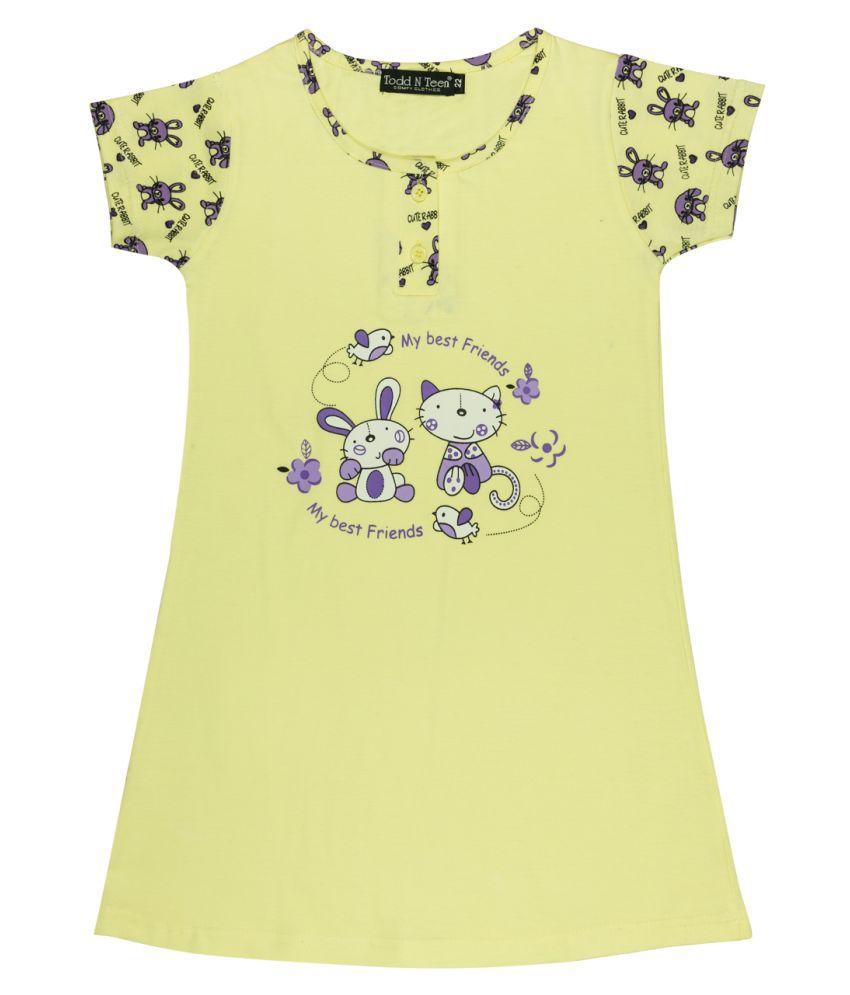 Todd N Teen Girls Cotton Printed Nighty, Nightwear, Sleepwear, Dailywear 3-4 years (yellow)rmnighty005softyellow04