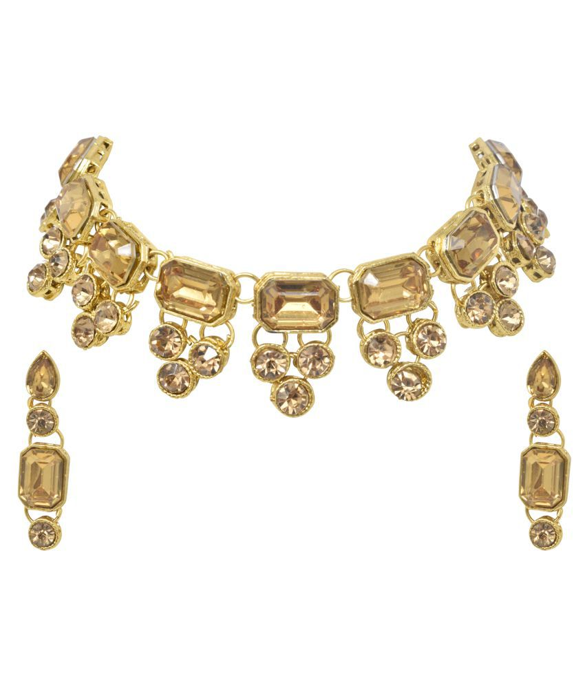 steorra jewels Alloy Golden Designer Necklaces Set Choker