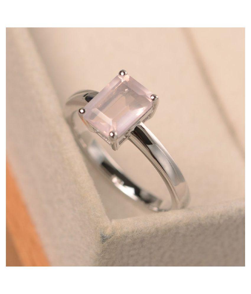 Rose quartz Ring in 5 carat Silver by  Kundli Gems
