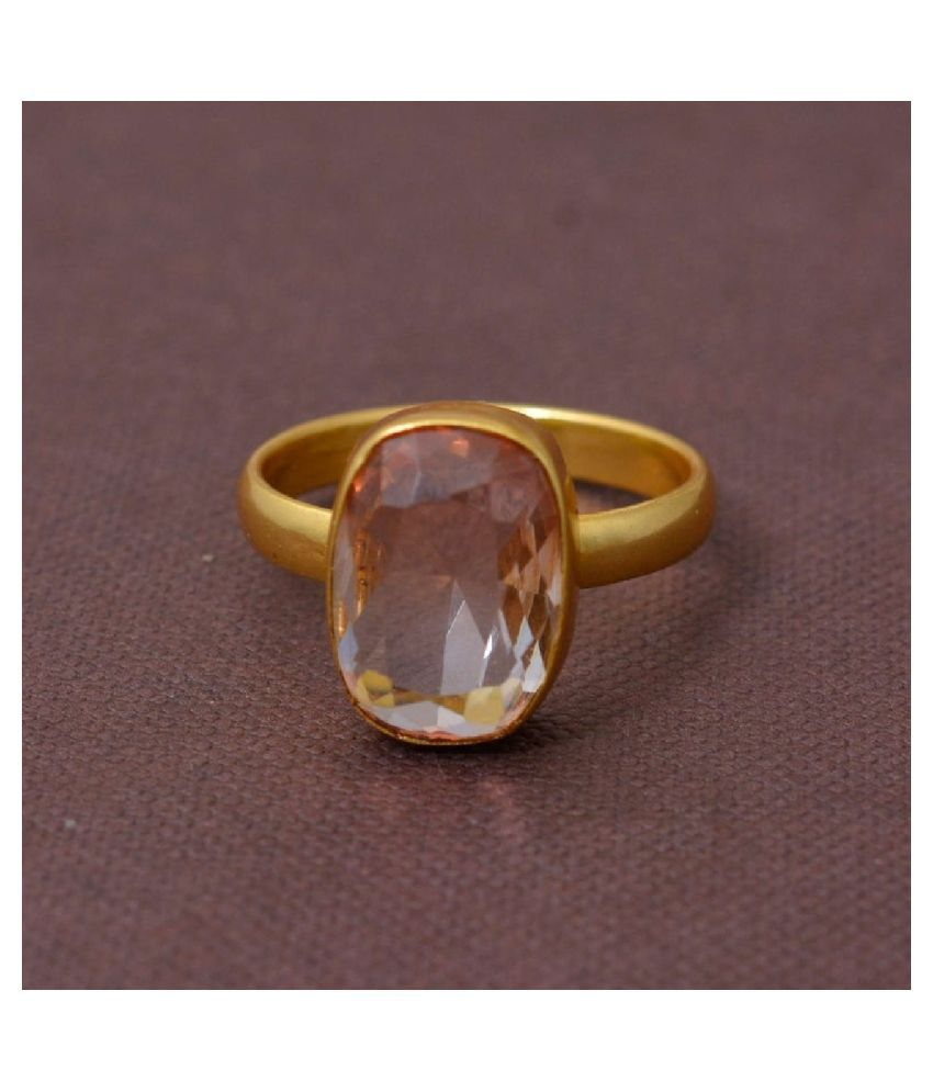 8 Ratti Gold Plated Original Rose quartz Ring Lab Certified Stone by Kundli Gems \n
