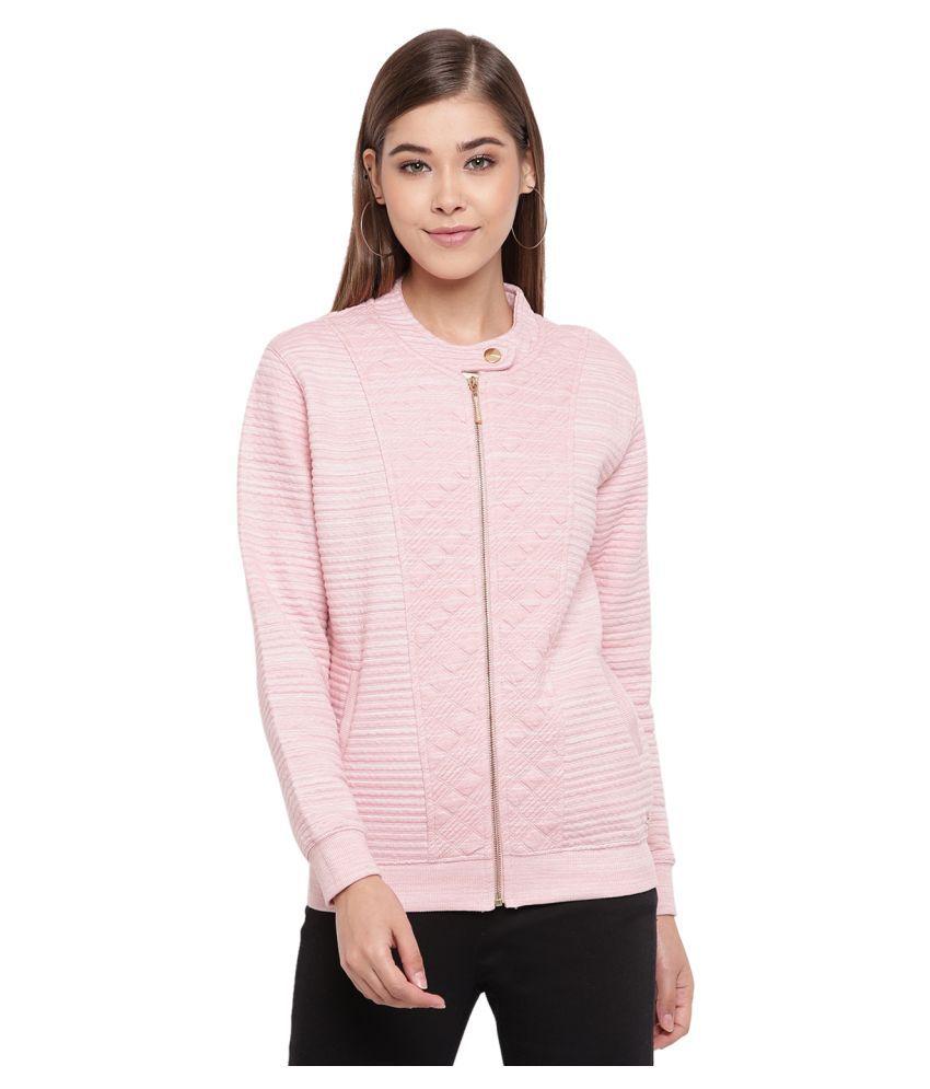 Miss Grace Cotton Peach Zippered Sweatshirt